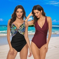 Tengweng 2019 Vintage Bandeau One piece Swimwear Swimsuit women Tommy Control Plus size Bathing suit Ruched female bodysuit