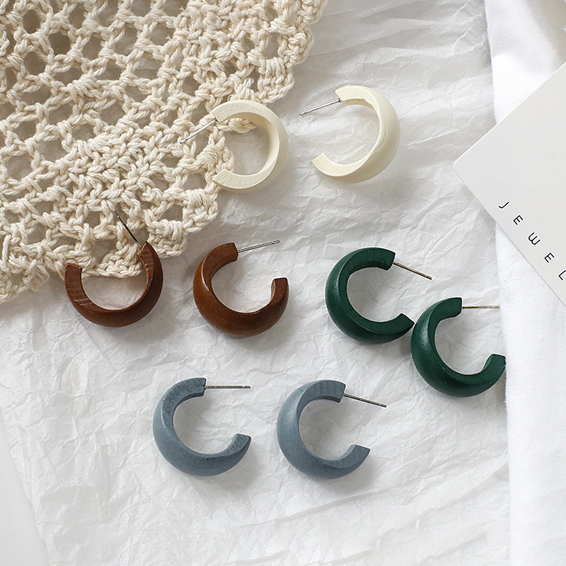 Flashbuy Vintage Wooden Drop Earrings For Women Simple C Style Wood Dangle Earrings 2020 Brincos Female Fashion Jewelry Hot Sale