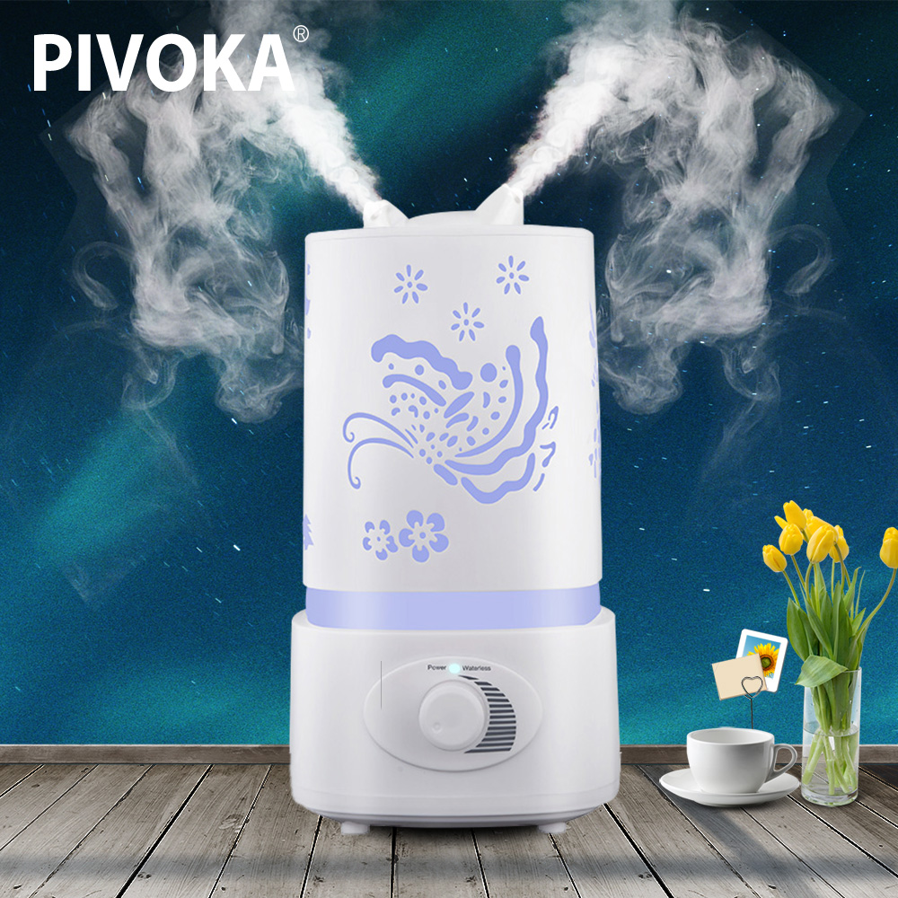 PIVOKA 1.5L Air Humidifier Aroma Diffuser For Essential Oil Aromatherapy Ultrasonic Humidifier Large Capacity Mist Maker Housing