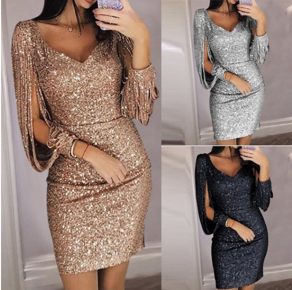 BacklakeGirls Sparkling Sexy V Neck Tassels Sleeve Solid Color Short Cocktail Dress Sequined Night Club Dress Kokteyl Elbiseleri