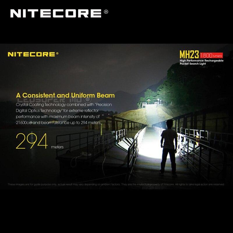 Luz de búsqueda de bolsillo Nitecore MH23 CREE XHP35 HD LED Micro USB recargable linterna de 1800 lúmenes - 4
