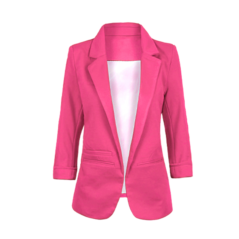 Newly Casual Slim Suit Blazer Coat Jacket Outwear Women Candy Color No Buckle FIF66