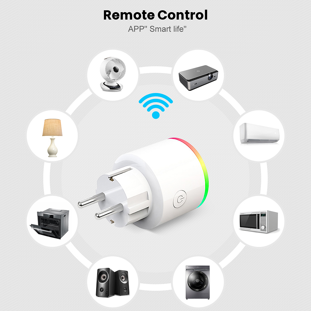 lowest price AVATTO 16A EU RGB wifi Smart Plug with Power Monitor wifi wireless Smart Socket Outlet with Google Home Alexa Voice Control