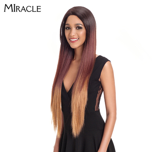 """Image 2 - Noble Hair Ombre Wig Colorful Heat Resistant Synthetic Hair Can Be Permed 32""""Inch Long Straight Lace Front Wigs For Black Women"""