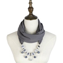 chiffon jewelry necklace scarf feminino spring fashion ring shawl hijab bandana beauty neck pendant
