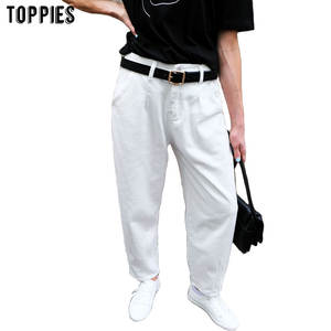 Toppies Pants Boyfriend Trousers White Jeans Loose High-Waist Denim Woman Harem Mujer