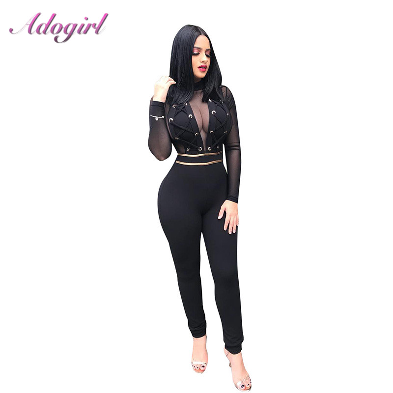 Sexy Sheer Mesh Bandage Night Party Club Jumpsuit Women Casual Long Sleeve Zipper Up Patchwork Rompers Street Outfit Overalls