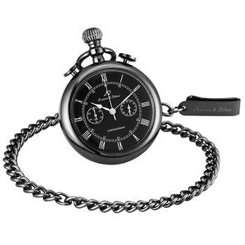 KS Retro Golden Carving Case Stopwatch Function Roman Numerals Clip Fob Chain Men Quartz Movement Pocket Watches Jewelry /KSP091