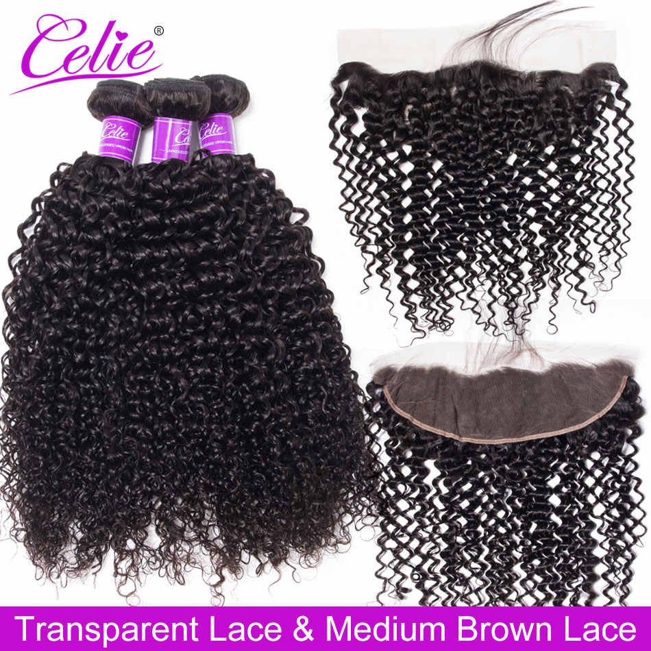 Celie Hair Curly Bundles With Frontal Remy Brazilian Human Hair Weave 3 Bundles With HD Transparent Lace Frontal Closure