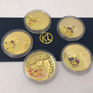 5 styles Japanese Anime Pokémon Gold Coin Card Pikachu Gilded Game Collection Card Children's Cartoon Toys