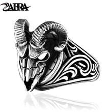 ZABRA Sheep Head Ring 925 Sterling Silver Hip Hop Evil Sheep Skull Ring Skeleton Animal Vintage Viking Signet Ring Biker Jewelry vintage skeleton skull king 925 sterling silver men ring