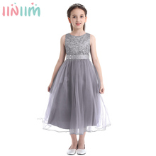 iiniim 2 14 Years Toddle Costume Tutu Baby Girls Flower Mesh Lace Dress Birthday Party Princess Dress Kids Communion Dresses