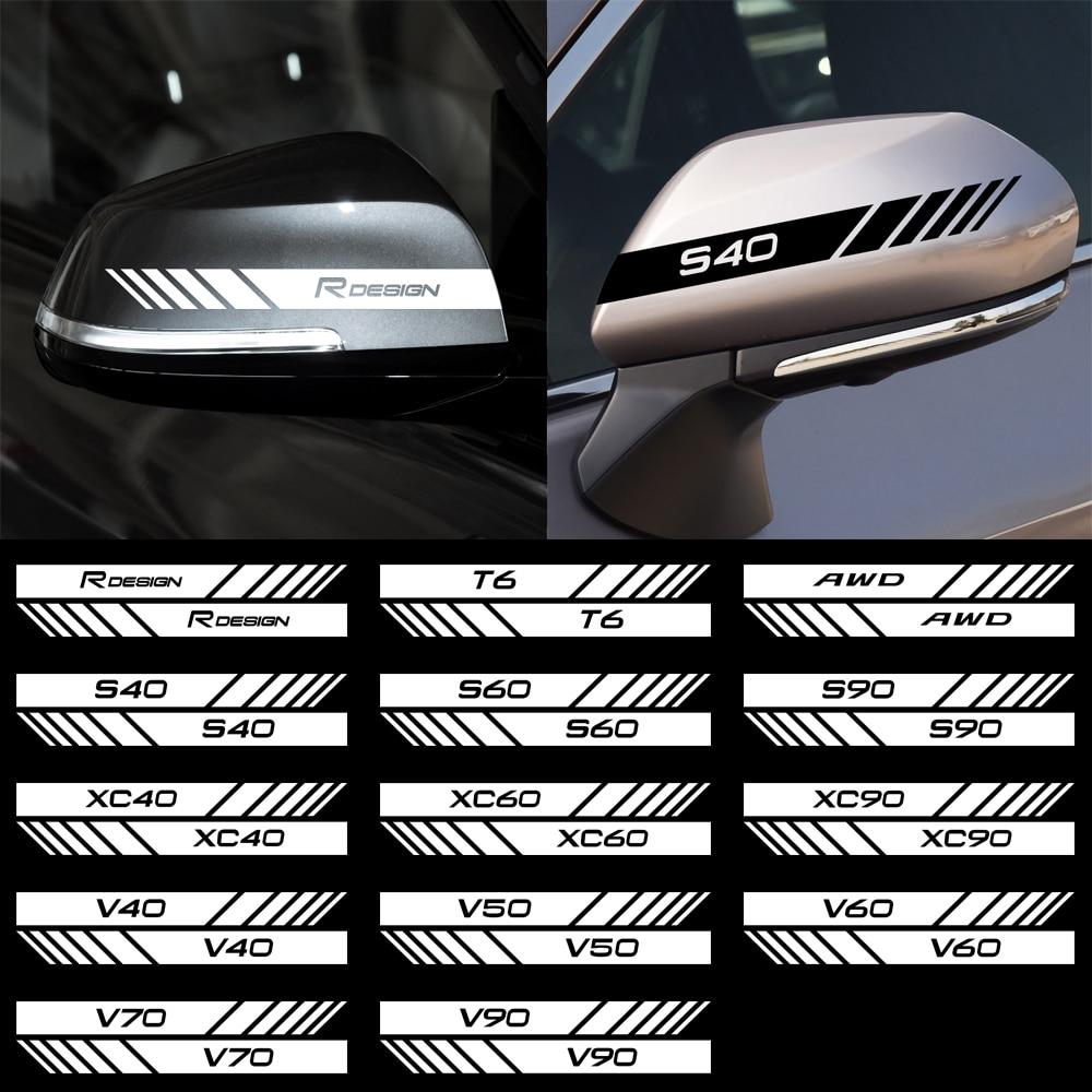 Para a Volvo RDESIGN XC90 S60 CX60 S80 V40 S40 XC70 V60 XC40 V90 Acessórios 2pcs Vinil Reflexivo espelho retrovisor Do Carro adesivo