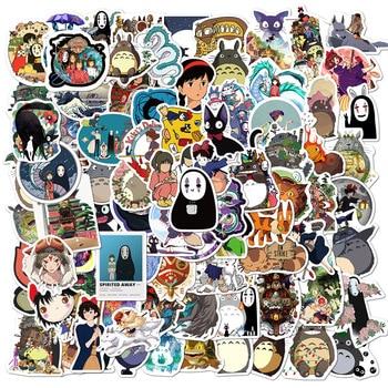 100PCS Cartoon Anime Spirited Away Stickers Totoro No Face Man DIY Children Stationery Laptop Skateboard Guitar Cute Sticker - 100 Spirited Away