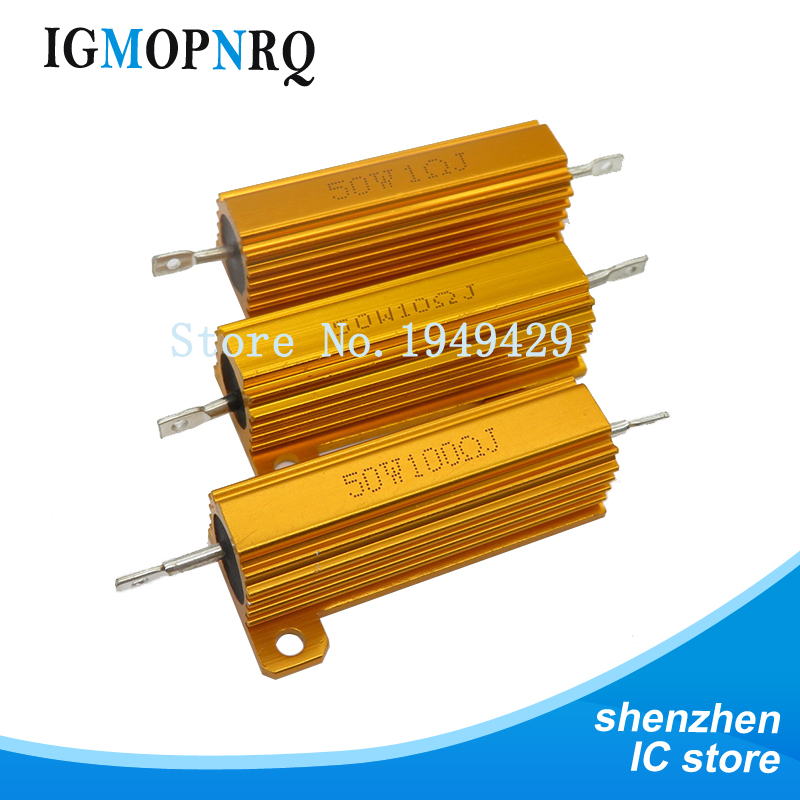 RX24 50W Aluminum Power Metal Shell Case Wirewound Resistor 0.01 ~ 100K 0.1 1 1.5 2 6 7 8 10 20 100 <font><b>150</b></font> <font><b>200</b></font> 300 1K 10K 100k ohm image