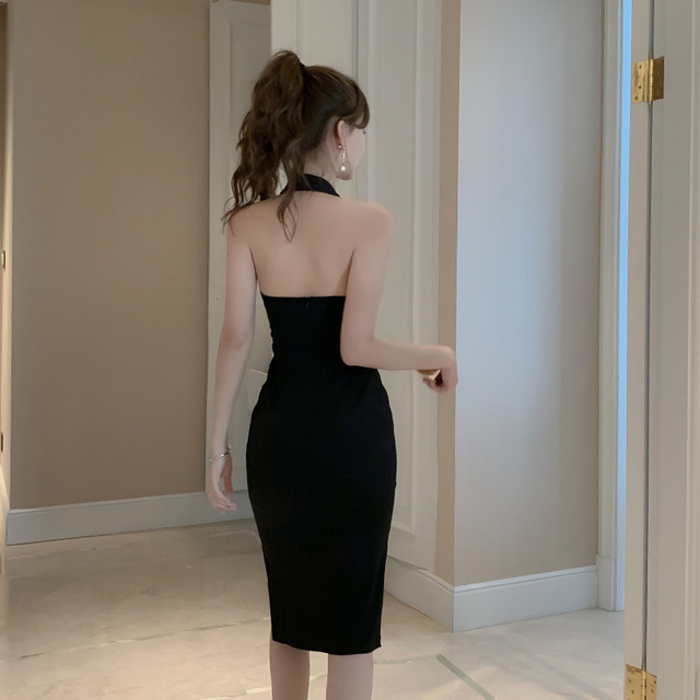 2021Dress Dress  Elegant Hepburn Black Sexy Deep V Neck Temperament Slim Bag Hip Split Dress Party Dress 2