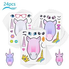 METABLE 24pcs Unicorn Cartoon DIY Stickers Intelligence Craft to Create Unique Shapes for Kids Boys Girl Themed Birthday