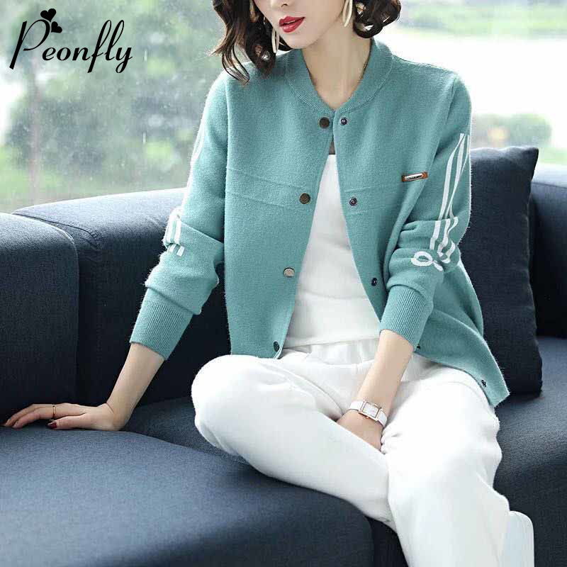 PEONFLY Casual Single Breasted Cardigan Women New 2020 Spring Knitted Coat Women Sweaters Loose O Neck Long Sleeve Female Tops