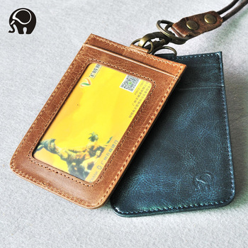 Retro Genuine Leather Credit Card Holder Driving Licence Card Case Thin Card Wallet Bus Card Pack ID Pocket Window Key Ring uv ink printed barcode card and plastic member key card 3 part supply
