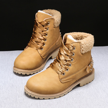 Snow Boots Women Botas Mujer Invierno 2019 Bottes Femme Ankle PU Keep Warm In Winter Square Heel Round Toe Rubber Short Plush