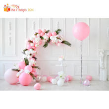 LIFE MAGIC BOX Background for Video Pink Flowers Balloons 1st Birthday Princess Backdrop Photography(China)