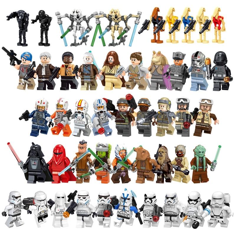 Star Wars Trooper Darth Vader Han Solo Building Blocks Jedi Yoda Obi Wan Boba Fett Figure Bricks Toys Gift Compatible Legoedly