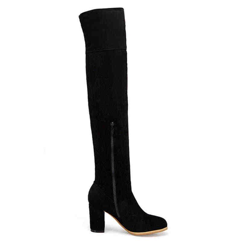 Odetina Women รองเท้าส้นสูง Faux Suede รอบ Toe ลูกไม้ยาวรองเท้าหญิง Zip Up Elegant ต้นขาสูงฤดูหนาว