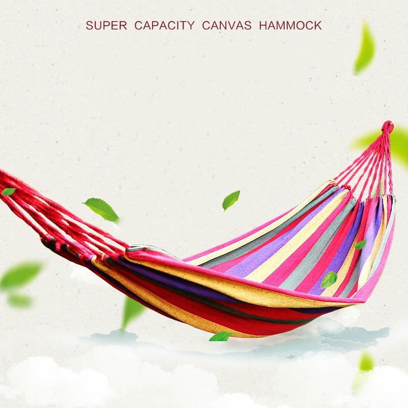 Portable  Rainbow Outdoor Leisure Portable Hammock Canva Garden Travel Camping Swing Canvas Stripe Hang Bed Hammock  Red/Blue