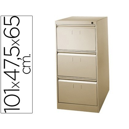 FILE DRAWER SOIL 'S METALLIC DE 3 DRAWER 101 HIGH, 65 PROF 47,5 WIDTH BEIGE N34