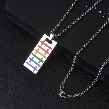 Wukaka Fashion Rainbow Gay Pride LGBT Necklace Windmill Square Girl Boy Symbol Stainless Steel Necklaces Men Jewelry 8