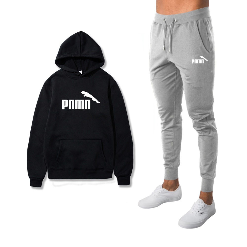 2 Pieces Sets Tracksuit Men New Brand Autumn Winter Hooded Sweatshirt +Drawstring Pants Male Stripe Fashion Hoodies Bigsweety