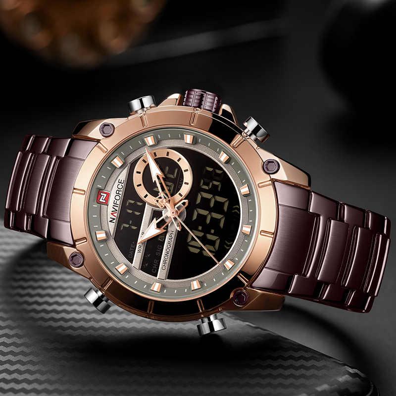 Naviforce relógio masculino de luxo da marca dos esportes dos homens relógios militares aço completo à prova dwaterproof água quartzo relógio digital relogio masculino