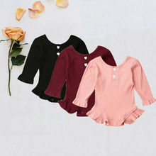 Soild Blank Bodysuit Newborn Baby Girl Clothes Knitted Ruffle Long Sleeve Bodysuit Overall Outfit Set