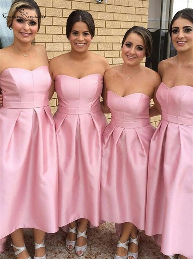 Simple Pink   Bridesmaid     Dresses   Short Tea-Length Sweetheart Zipper Satin A-line Prom Party Gowns Wedding Guest Gowns 2019