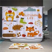 цена на Color cartoon animal high quality polyester fabric shower curtain waterproof hook bathroom shower curtain