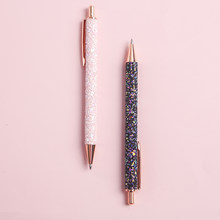 Bolígrafo de cristal con lentejuelas brillantes, 0,5mm, negro, para rellenar bolígrafo, escuela, oficina, papelería, herramienta de escritura para estudiantes, bolígrafo de Gel de trabajo