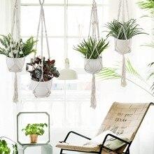 Feito à mão macrame planta cabide flor pote cabide para decoração de parede countyard jardim planta titular cesta