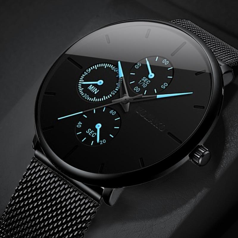2020 Fashion Mens Watch Minimalist Luxury Ultra Thin Stainless Steel Mesh Band Wrist Watch Analog Quartz Watches Relojes Hombre