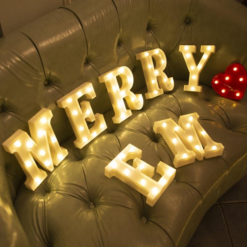 Буквы Алфавита светодиодный светильник светящиеся номерной знак лампа Декор Батарея ночной Светильник для дома на свадьбу, день рождения, ...