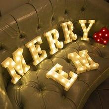 Luces LED con letras del alfabeto, lámpara con forma de número, decoración, batería, para el hogar Luz Nocturna, boda, cumpleaños, fiesta de navidad