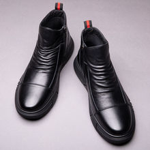 2020 Winter Boots Male Shoes British Style Korean Tooling Trendy Shoes Plus Velvet Warm Cotton Shoe Ankle Man Boot