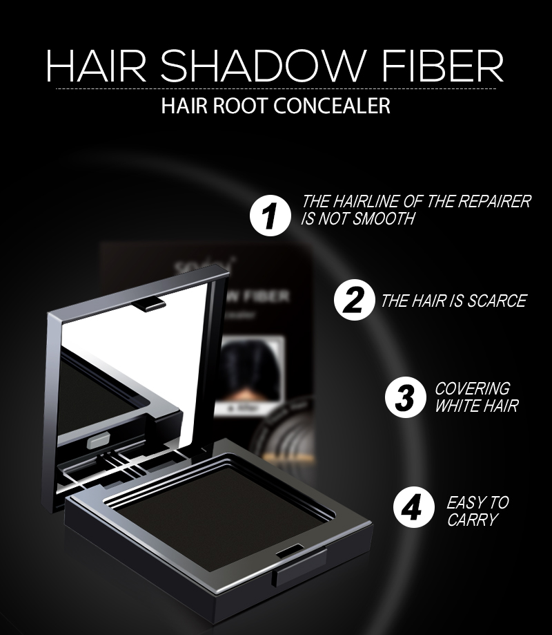 Poster - Sevich 3 Colors 12g Hair Shadow Powder Waterproof Hairline Edge Control Powder Root Cover Up Dark Brown Hair Concealer With Puff