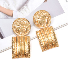 Vintage Hanging Gold Geometric Metal Dangle Drop Earrings Fine Jewelry Accessories Wholesale Pendientes Bijoux For Women