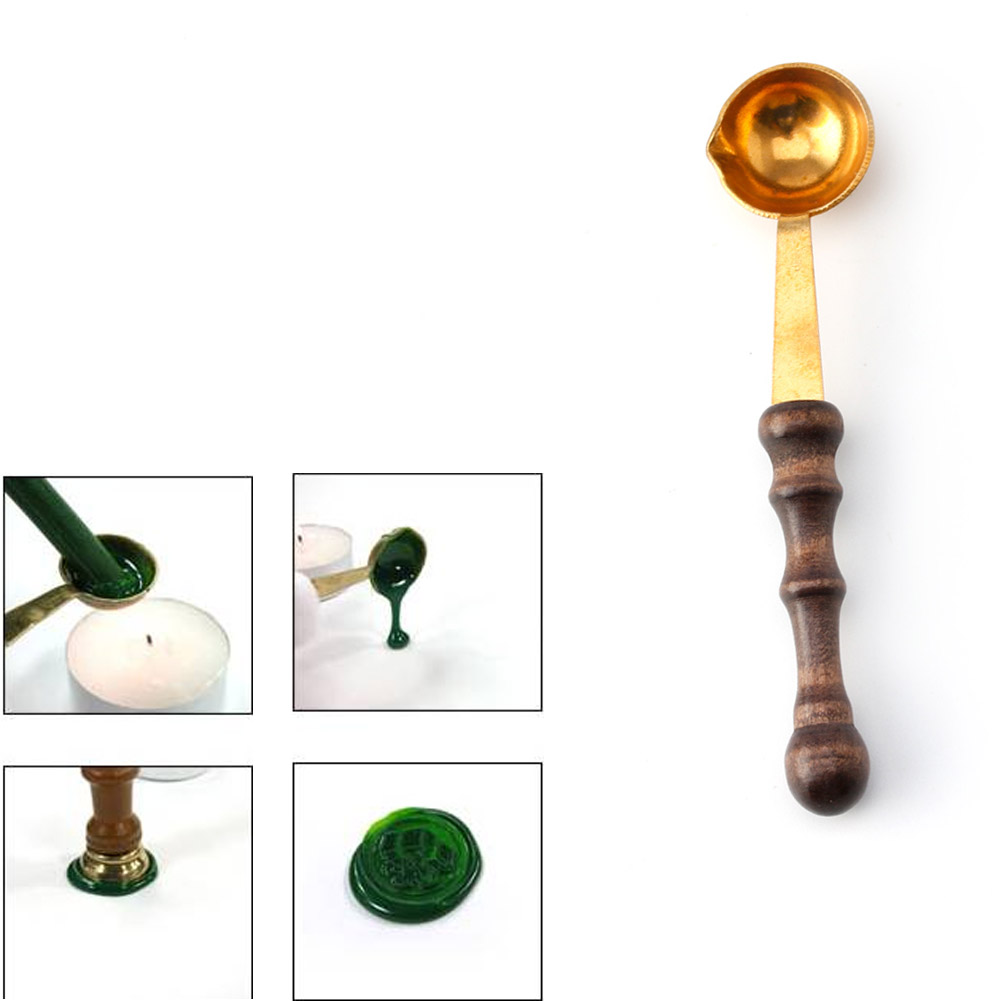Cuillère en laiton et en bois pour cire fondue   Cire fondue, sceau enveloppe de timbre