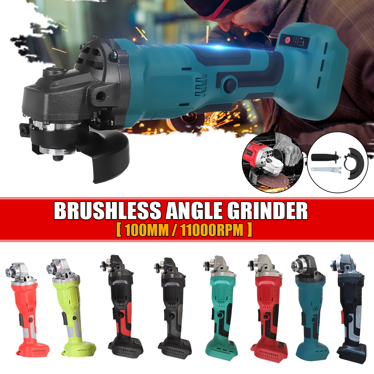 800W 18V Brushless Cordless Impact Angle Grinder 100mm Home DIY Power Tool Cutting Grinding Machine Polisher For Makita Battery