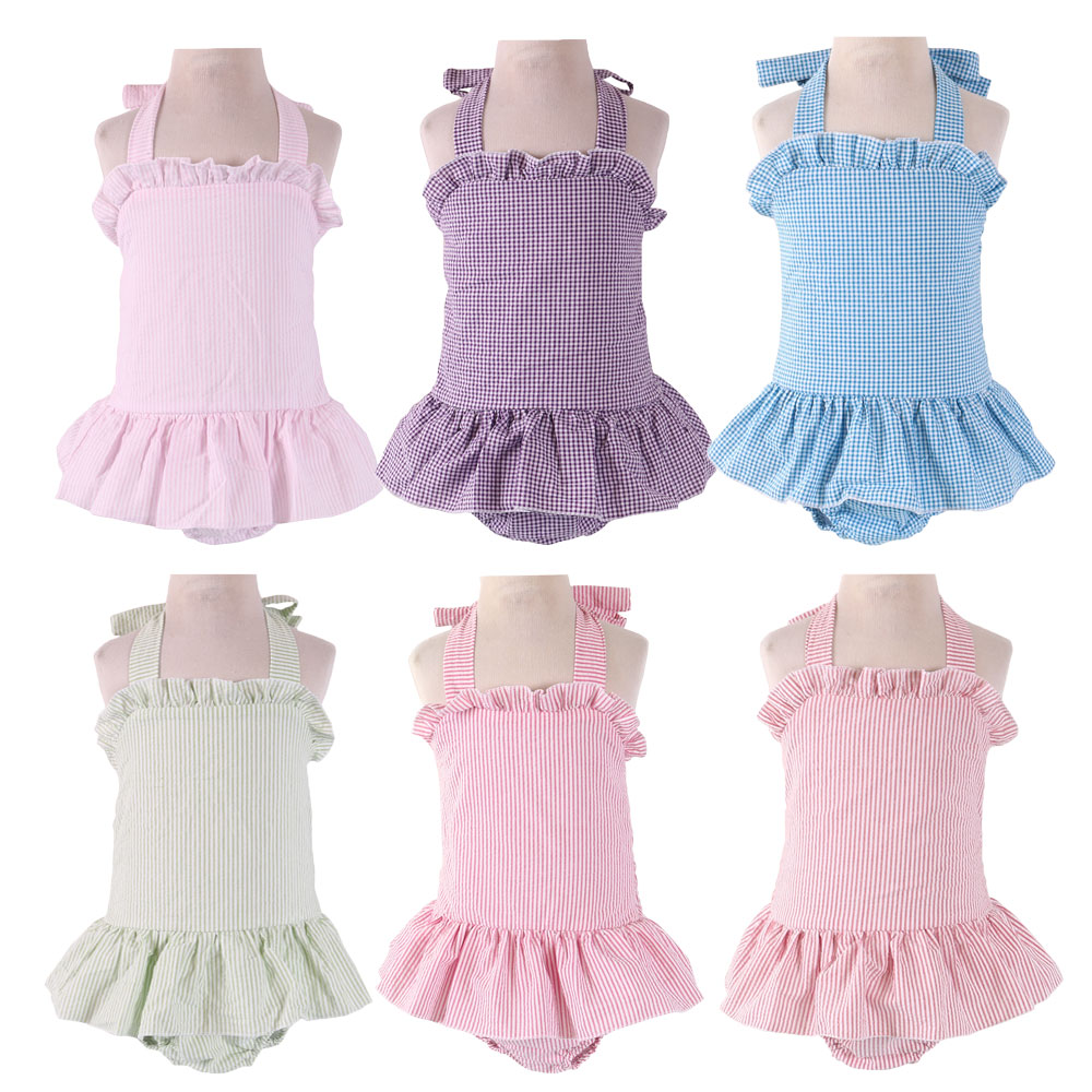Seersucker Kids Swimwear Girls Ruffle One Piece Baby Swimsuits Sleeveless Cotton Swimwear Kids Sport