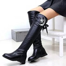 High Quality Knee High Boots Women Soft Leather Knee Winter Boots Comfortable Warm Fur Women Long Boots Shoes bota feminina#3 cheap YOUYEDIAN Over-the-Knee Slip-On Solid Canvas 0830 Fits true to size take your normal size Round Toe Flat with Motorcycle boots