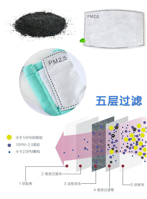 5PCS  PM2.5 Mask Anti Dust Mask Activated Carbon Filter Windproof Mouth-muffle Bacteria Proof Flu Face Masks Care 2