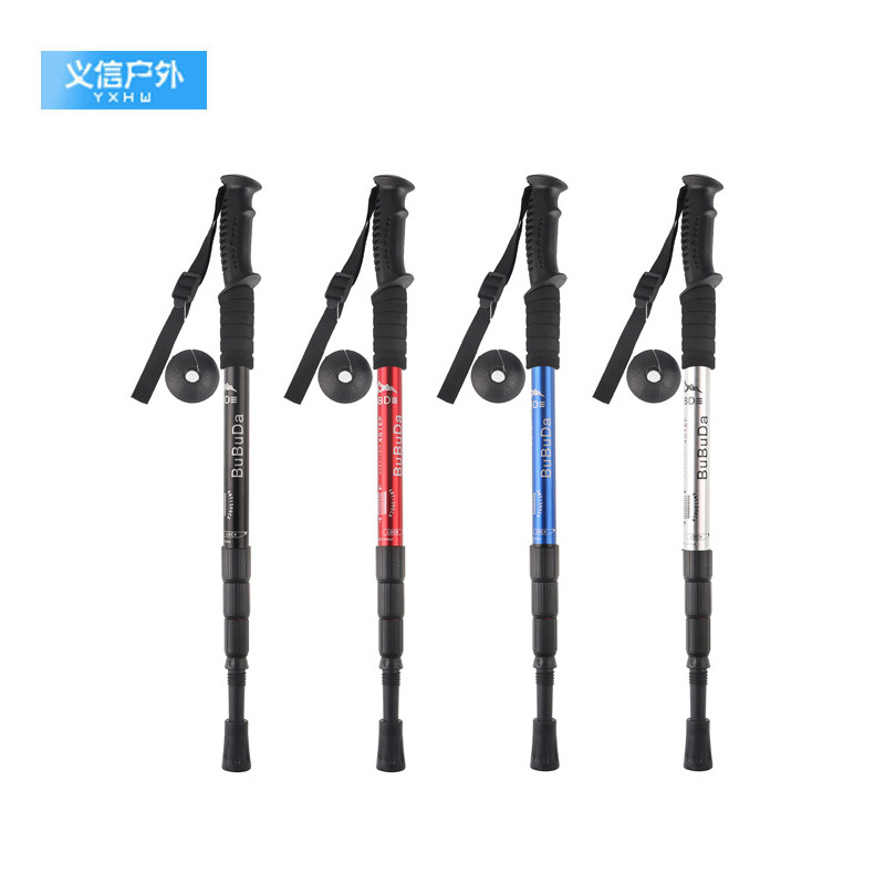 Straight Handle Four Outdoor Alpenstock Ultra-Light Straight To Four Elderly People Crutch Aluminum Alloy Cane Hiking Rod Ultra-