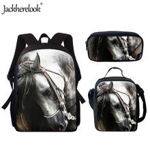 Jackherelook Children School Bags Set for Teen Boys Horse Animal Brand Design Travel Men Backpacks For Teen Bookbag Mochilas cheap Polyester zipper 16kg 15inch Floral Z87+E+K Girls 4 2inch 10 7inch Casual Women Backpacks Mochila Escolar 3Set School Bags for Girls Boys Kids